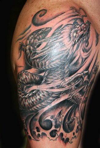 Cover Up-Chinese Dragon Black & White by Tiffany Garcia Tattoo Artist Original Custom Tattoos located in Long Beach, Huntington Beach, Carson, Palos Verdes, Los Angeles, West Hollywood, Pacific Coast Highway and surrounding areas in Southern California.