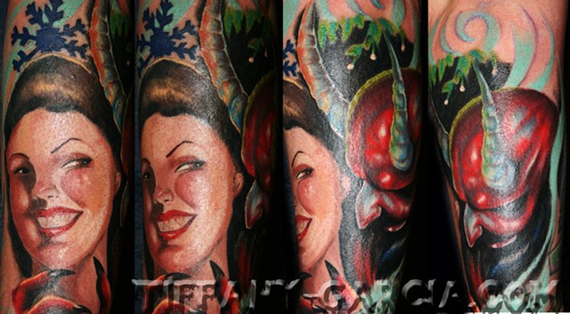 Krampus the Christmas Demon and pin up  by Tiffany Garcia #1 Female Tattoo Artist located in Long Beach, Orange County, LA, Huntington Beach, Carson, Palos Verdes, Los Angeles, West Hollywood, Pacific Coast Highway and surrounding areas in Southern Califo