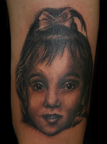 Child's Portrait in Black & White by Tiffany Garcia Female Tattoo Artist located in Long Beach, Orange County, LA, Huntington Beach, Carson, Palos Verdes, Los Angeles, West Hollywood, Pacific Coast Highway and surrounding areas in Southern California.