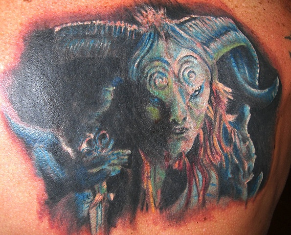 Pan by Tiffany Garcia Tattoo Artist Original Custom Tattoos located in Long Beach, Huntington Beach, Carson, Palos Verdes, Los Angeles, West Hollywood, Pacific Coast Highway and surrounding areas in Southern California.