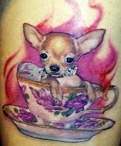 Teacup Chihuahua  by Tiffany Garcia Female Tattoo Artist located in Long Beach, Orange County, LA, Huntington Beach, Carson, Palos Verdes, Los Angeles, West Hollywood, Pacific Coast Highway and surrounding areas in Southern California.