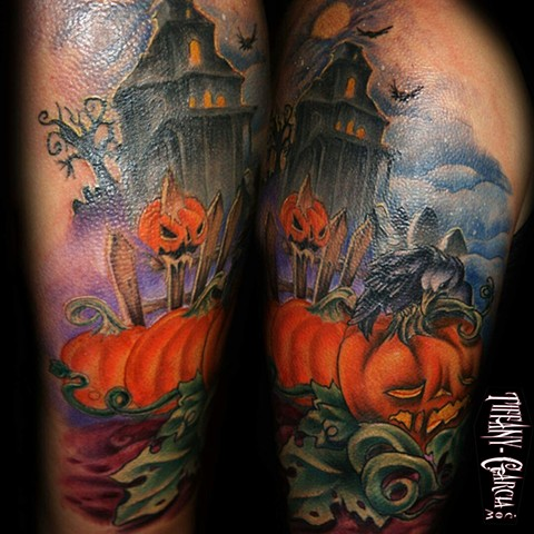 Spooky Haunted House by Tiffany Garcia Top Female Tattoo Artist located in Long Beach, Orange County, LA, Huntington Beach, Carson, Palos Verdes, Los Angeles, West Hollywood, Pacific Coast Highway and surrounding areas in Southern California.