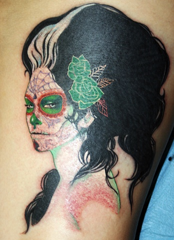 Day of the Dead Sylvia Ji Beauty by Tiffany Garcia Tattoo Artist Original Custom Tattoos located in Long Beach, Huntington Beach, Carson, Palos Verdes, Los Angeles, West Hollywood, Pacific Coast Highway and surrounding areas in Southern California.