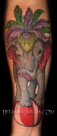 Elephant Performer by Tiffany Garcia Top Female Tattoo Artist located in Long Beach, Orange County, LA, Huntington Beach, Carson, Palos Verdes, Los Angeles, West Hollywood, Pacific Coast Highway and surrounding areas in Southern California.