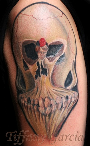 Optical Illusion Skull and Dancer  by Tiffany Garcia Tattoo Artist Custom Tattoos located in Long Beach, Huntington Beach, Carson, Palos Verdes, Los Angeles, West Hollywood, Pacific Coast Highway and surrounding areas in Southern California.