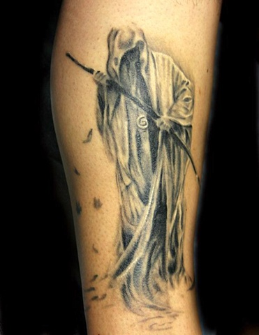 Grim Reaper  by Tiffany Garcia Tattoo Artist Original Custom Tattoos located in Long Beach, Huntington Beach, Carson, Palos Verdes, Los Angeles, West Hollywood, Pacific Coast Highway and surrounding areas in Southern California.