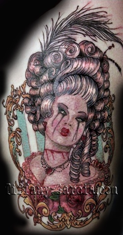 Marie Antoinette by Tiffany Garcia Female Tattoo Artist located in Long Beach, Orange County, LA, Huntington Beach, Carson, Palos Verdes, Los Angeles, West Hollywood, Pacific Coast Highway and surrounding areas in Southern California.