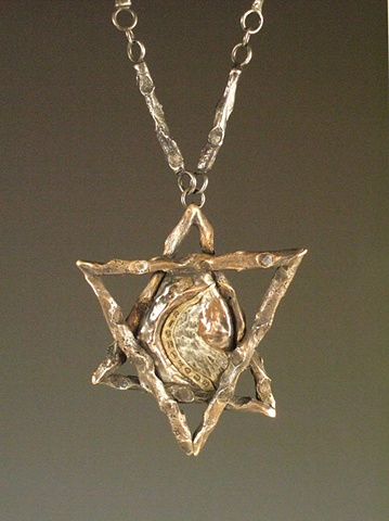 "Anika Smulovitz, judaica, amulet, mixed metals, ""shadow of death"", necklace, protection, death, memorial"