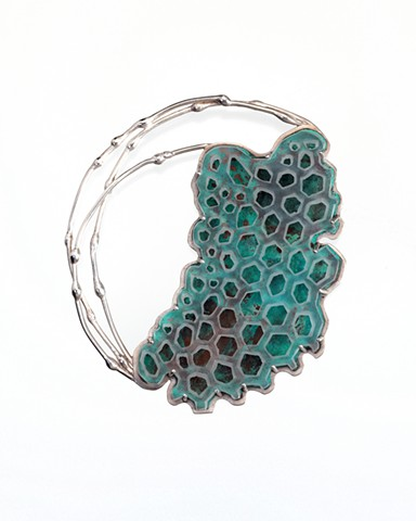 Anika Smulovitz, breathe 5, sterling silver, copper, acrylic