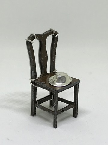 Smulovitz, Tangible Hope 24, sterling silver, antique dollhouse chair, 2018