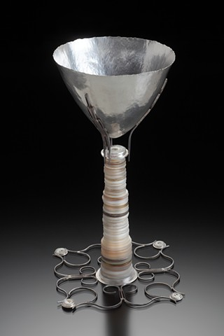 Anika Smulovitz, sterling silver kiddish cup Judaica antique mother-of-pearl buttons matriarch sewing needles