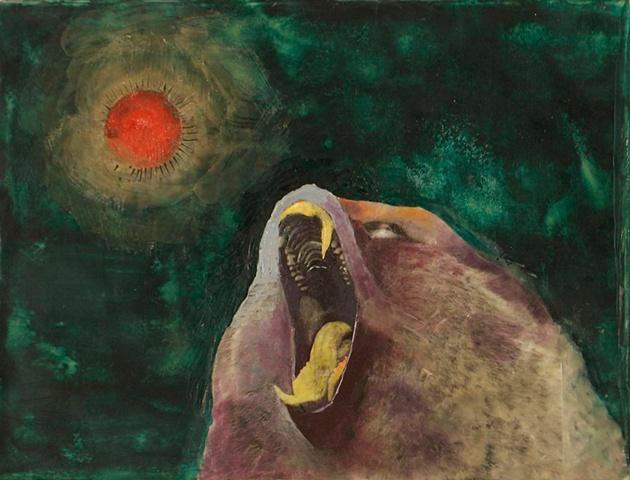 wax encaustic scream painting
