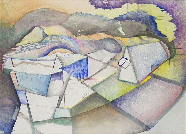 Mixed media drawing imaginary landscapes