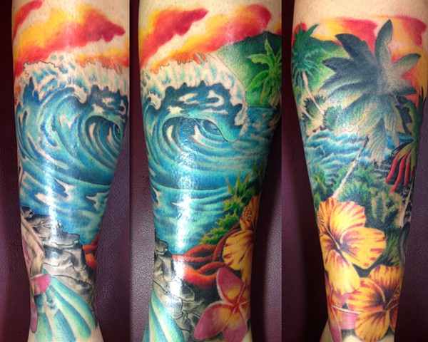 Waves, ocean, surf tattoo
