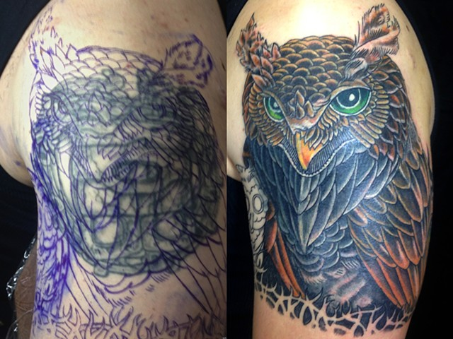 Owl cover up tattoo