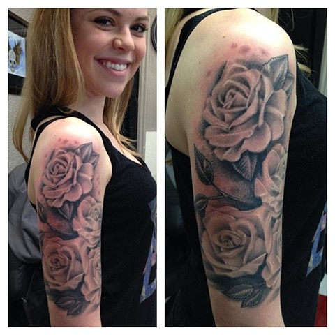 Black & Grey Roses, 1/2 Sleeve