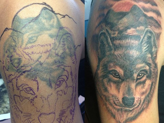 tattoos, wolf, cover-up