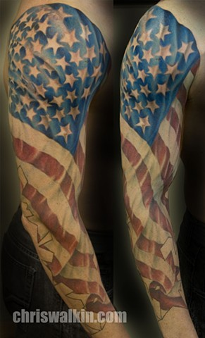american flag sleeve  Tattoo done at Iron Cypress in Lake Charles Louisiana