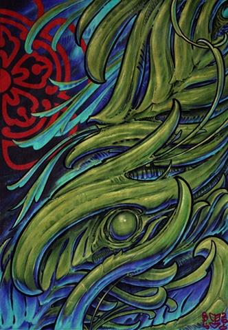 Biomechanic art tattoo print lake charles louisiana