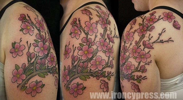 Japanese Cherry branch coverup tattoo
