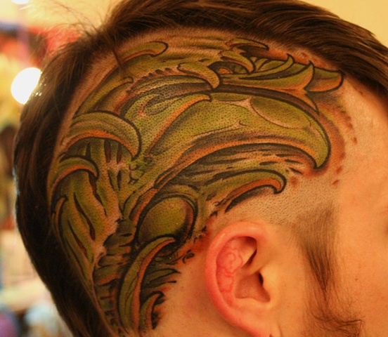 Cory's Head Biomech Tattoo
