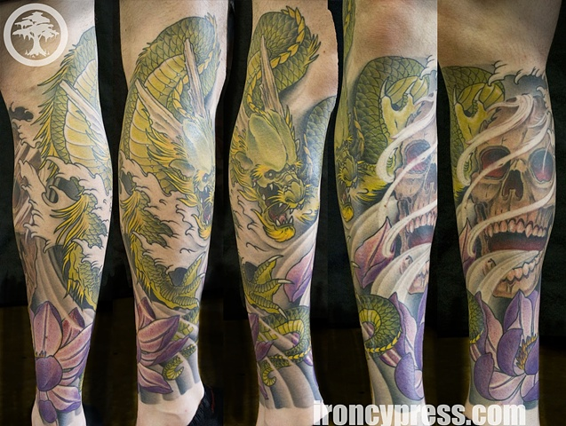 Japanese Dragon Skull and Lotus tattoo by Chris Walkin