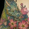 Japanese Dragon Sakura Hips Tattoo