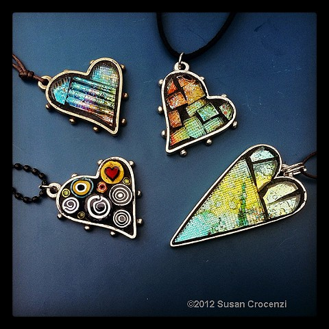 mosaic heart pendants