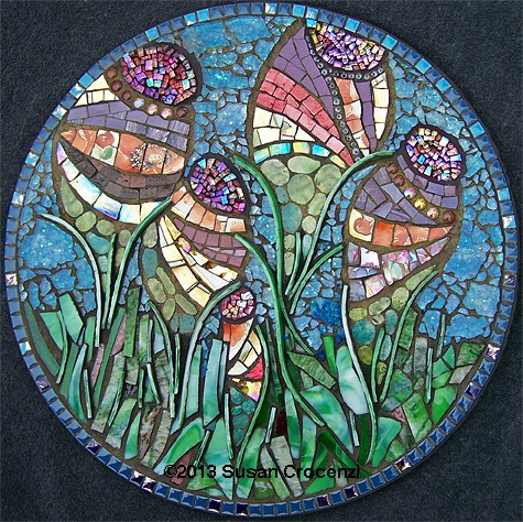 mixed-media mosaic, tempered glass mosaic