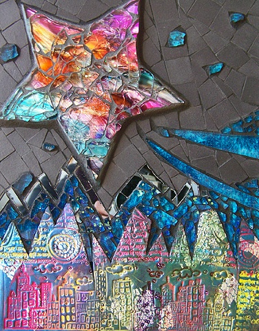 mixed-media mosaic with polymer clay, unglazed porcelain, tempered glass