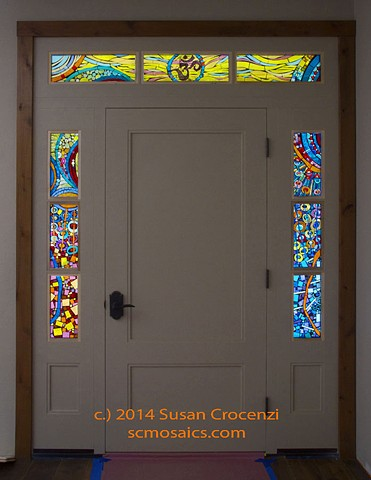 Stained glass on glass mosaic windows