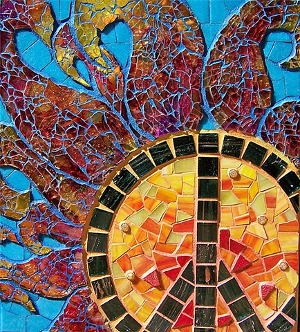 Glass peace sign mosaic