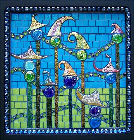 CMade with handmade polymer clay tiles, large and small glass gems, VanGogh, vitreous and glitter glass, and totally cool square millefiore.