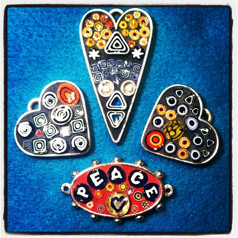 Peace and Love Mosaic Pendants