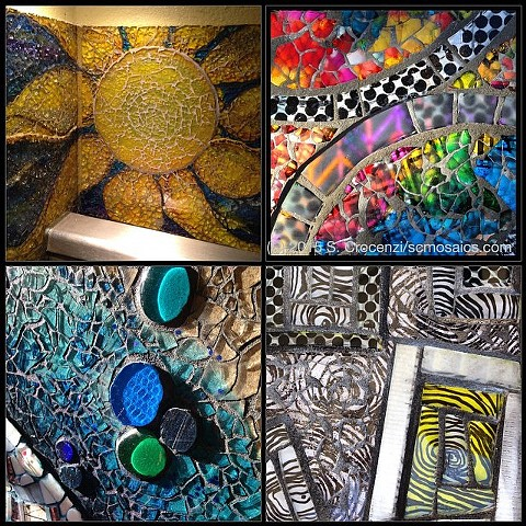 Clockwise from top left: kitchen backsplash, wall-hanging, wall-hanging, entryway mosaic mural