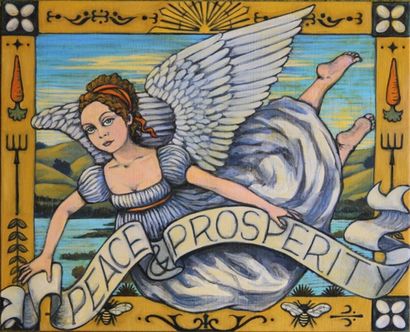 This is a piece depicting an allegory of peace and prosperity; it's a painting about Petaluma and the local Schollenberger Wetlands.