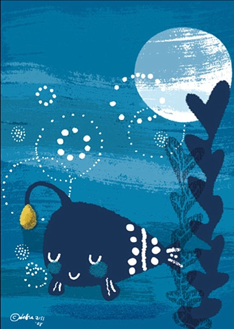 Bedtime Kiss for Little Fish Original Jacket Art  Client: Scholastic
