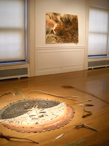 floor installation and Wind, Water, Earth,  at the Borowsky