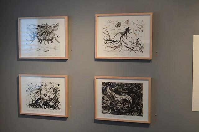 Four Inky Cap Mushroom paintings