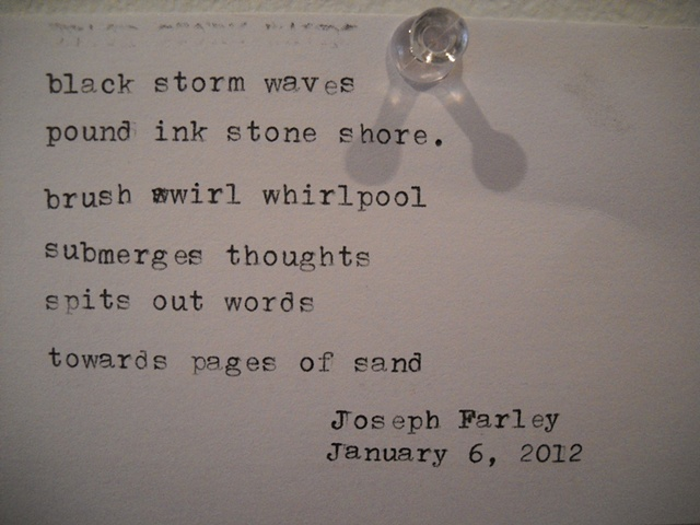 Poem by Joseph Farley, Jan 6, 2012, written at Highwire Gallery's Poetic License Exhibit