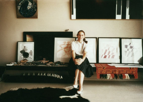 Eva Slater with some of her Cross Current drawings c. 1965