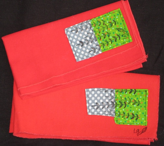 Napkins with Applique and Fabric Ink