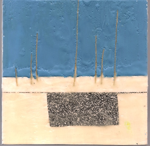 two toned encaustic piece with thread and security envelope collage.