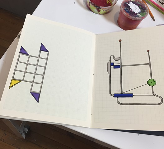 Sketchbook Paintings- Grids and blank book supplied by Kayrock Screenprinting