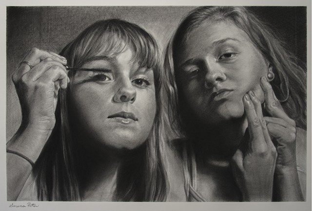 drawing, figurative, charcoal, teens, makeup, identity, self esteem,