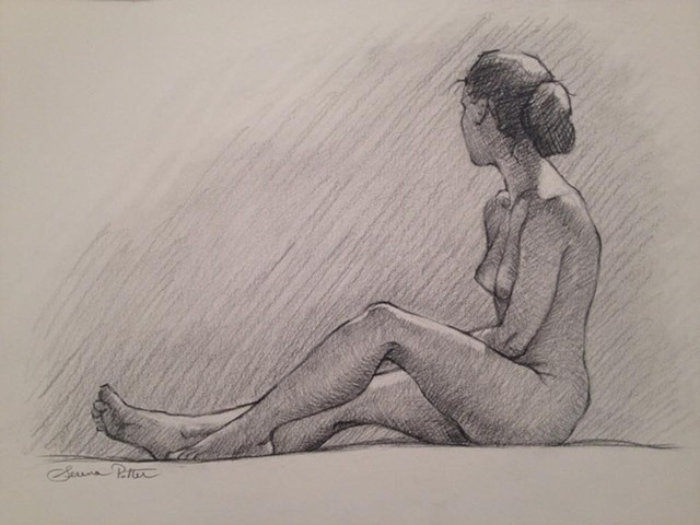 Figurative charcoal drawing from life.