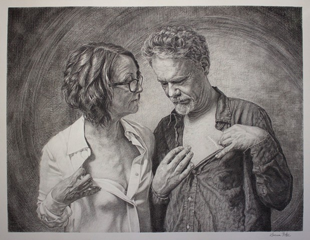 man and woman, scars, sharing, representational art, figurative art