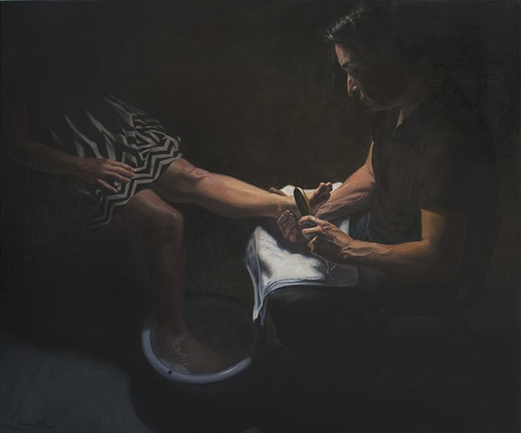 original oil painting, woman receiving pedicure,