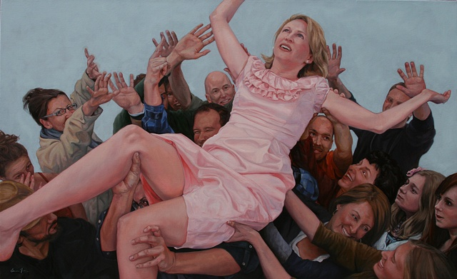 figurative, oil painting, crowd surfing