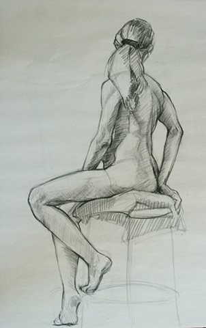 Life drawing, female nude, charcoal on paper, figure drawing